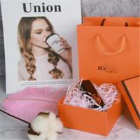 bolso anaranjado del modelo al por mayor-H Bolsos naranjas Moda de alto grado Jewellry Decoración Caja Marea Diseño de marca Prefume Jewelry Pattern Box