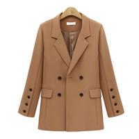 inverno blazers venda por atacado-Outono Inverno Terno Blazer Mulheres 2019 New Casual Double Breasted Bolso Casacos Elegantes Blazer Manga Longa Outerwear para Senhoras