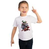 белые хлопчатобумажные ткани оптовых-2019 последние супергероя Marvel комиксы фильм характер белая хлопковая футболка с короткими рукавами летом носить мягкую ткань для детей