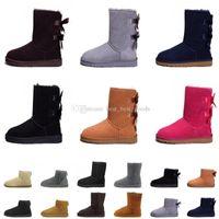 botas de invierno marrón para mujer al por mayor-Botas Marrón tobillo Mujer Botas de nieve para hombre Ovejas de cuero Australia Clásico cálido Invierno hombre Zapatos diseñador de lujo Bailey arranque gratis