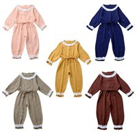 Wholesale baby rompers costume for sale - Group buy Newborn Rompers Outfits Autumn Baby Linen Cotton Jumpsuit Lace Fungus Long Sleeves Jumpsuit Solid Children Leisure Climbing Costume M254