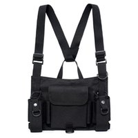 Wholesale combat backpacks resale online - Wearable Outdoor Combat Black Vest Chest Pack Reflective Strip Hip hop Vest