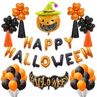 pancarta de calabaza al por mayor-Happy Halloween Balloons Set Pumpkin Cat Bat Witch Foil Globos de látex Banner Decoraciones de Halloween Suministros para fiestas JK1909