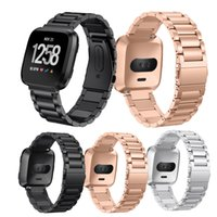 Wholesale fashion watch beads online - Luxury Stainless Steel belts Bracelet Straps Wristband Watchbands for Fitbit Versa Chain three bead steel belts watch bands