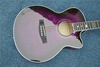 massive fichtendecke großhandel-Custom Factory Top Fichte Massiv Retro-Gitarren-Körper Akustikgitarre mit Fishman Pickup Farbe Lila, kundenspezifische Farbe / Micro-Aufkleber