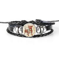 sternzeichen stier armbänder großhandel-Bohemian 12 Constellation Zodiac Taurus Zeit Gem Glas Cabochon Armband Multilayer Leder Seil Perlen Femme Male Wrist Band Unisex Schmuck