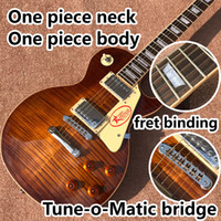 Wholesale smoke electric for sale - Group buy one piece Neck one piece body electric guitar in sunburst Upgrade Tune o Matic bridge guitar Tiger Flame guitar Smoke colour