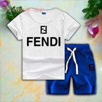ingrosso disegni camicie bambini-FD Children Sets 1-7T T-shirt e pantaloni corti per bambini 2Pcs / set Bebé e ragazze 95% cotone FF Design Set stile di stampa estiva