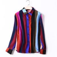 ingrosso chiffon di seta naturale-Camicette di seta naturale al 100% Camicetta a righe a maniche lunghe in chiffon di seta reale Top per le camicie da donna Camicie da lavoro arcobaleno