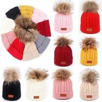 короткие манжеты оптовых-9 цветов женщин Зимняя шапочка Hat теплый флис Выровняно Трикотажное Chunky Soft Ski манжета Cap с Pom Pom Xmas Party Hats WX9-1606