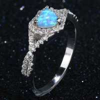 Wholesale blue diamond silver wedding ring set resale online - 925 Silver Plated Created Gemstone Fire Heart blue Opal Diamond Moonstone Ring Bride Wedding Engagement Fine Jewelry
