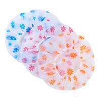 sevimli elastik toptan satış-Resuable Dantel Elastik Bant Banyo Saç Kapaklar Anti-duman Şapka Sevimli çiçek Su Geçirmez Duş Kap Kadın Karikatür PVC Yıkama Yüz Saç Kapak özel logo