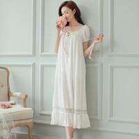 frauen s weiße baumwoll-nachthemden großhandel-Nachtkleid langes weißes nachthemd frauen nachthemden baumwolle kurzarm sexy nachtwäsche vestido vintage nachtwäsche pijama nachthemd