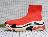 sapatilhas dropshipping venda por atacado-Preto do pai Sock Sapatinho Sports Running Shoes, Formação Sapatilhas, velocidade Knit Sock alta-Top Training Sneakers, Dropshipping aceites