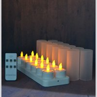Wholesale candle shape lamp resale online - set of remote controlled LED candles Flickering frosted Rechargeable Tea Lights Electronics Candle lamp Christmas Wedding bar T200108