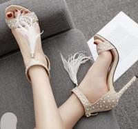 fildişi inci elmas taklidi gelinlik ayakkabıları toptan satış-Gelin düğün ayakkabı tasarımcısı yüksek topuklu fildişi inci rhinestone T strappy elbise ayakkabı boyutu 35 ila 40 pompalar
