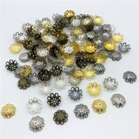 conclusions perle achat en gros de-1000pcs / Lot 15mm Fleur Forme Alliage Perles Caps Résultats de bijoux Charmes Collier Bracelets Spacer Perles Pour La Fabrication de Bijoux