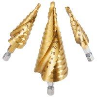 3X HSS Spiral Grooved Step Cone Drill Drills Bit 4-12 4-20 4-32mm Hole Cut ED