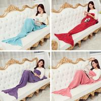Wholesale kids pashminas resale online - Mermaid Tail Blanket Kid Adult Warm Fish Tail Sleeping Bag Bedding Women Winter Soft Pashmina Knitted Sofa Blanket TTA2100