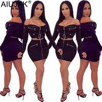 uzun fermuarlı etek toptan satış-AIUJXK Kadınlar Iki Parçalı Set Yeni Uzun Kollu Seksi Kapalı Omuz Straplez Fermuar Bodycon 2 Adet Etek Kadın Kıyafetler rahat Giysiler