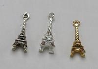 eiffel schmuck großhandel-Eiffelturm Charme Antike Musik Anhänger Für Handgemachte DIY Armband Halskette Modeschmuck Legierung Machen Geschenke Zubehör 100 STÜCKE