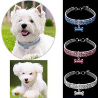 Wholesale dogs colors for sale - 3 Rows Crystal Dog Cat Necklace Practical Metal Alloy Pet Collars Luxury Three Colors Puppy Collar High Quality cz BB