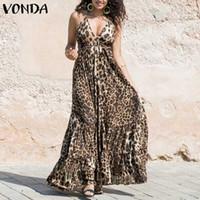 leopardo maxi vestidos de verano al por mayor-VONDA Mujeres Sexy Vestido de Leopardo 2019 Correa de Espagueti de Verano Colmenas de Columpios Maxi Vestido Largo Más Tamaño Vestido de Fiesta Sin Mangas 5XL