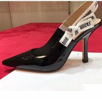 slingbacks talons achat en gros de-Designer Women talons hauts 9.5cm sandales pompes top qualité slingbacks 6 couleurs dames en cuir verni robe chaussures simples