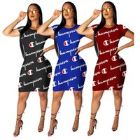 Wholesale modern line dress patterns online - Women Champion Letter Summer Dress Designer Bodycon Skirt Short Sleeves Long T shirts Skinny Dresses Club Party Street wear S xl A52206