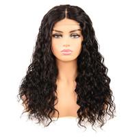 perruques longues et frisées achat en gros de-Vague perruque de cheveux humains chinois Cheveux 4 * 4 Fermeture dentelle perruques couleur naturelle suisse dentelle Taille moyenne 150% Densité