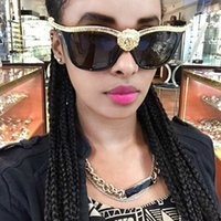 Wholesale 3d sunglasses resale online - D Wild Lions Head Women Sunglasses Gold Oversized Men Cat Eye Sun Glasses Retro Gothic Female Shades gafas de sol UV400