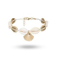 золотые украшения морской ракушки оптовых- Gold shell Cowry charm bracelet bracelets boho fashion beach seashell foot chain anklet bracelets for women jewelry