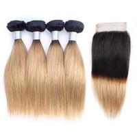 koyu kökler sarışın insan saçları toptan satış-1B27 Ombre Bal Sarışın Saç Demetleri Ile Kapatma Koyu Kökleri 50g / Paket 10-14 Inç 4 Paketler Brezilyalı Düz İnsan Saç Uzantıları