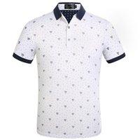 erkekler tasarım yaka gömlekleri toptan satış-Moda Tasarımcısı Erkekler Polo T Shirt Yaz Kısa Kollu Turn Down Yaka Kısa Kollu Casual Polo Gömlek Tops
