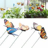 ingrosso decorazione farfalle giardino-Farfalla Garden Stake Artificial Party Decorazioni da giardino Simulazione Farfalle Stakes Outdoor Yard Plant Lawn Decor Colore casuale
