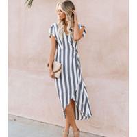 uzun yaz şeritli elbise toptan satış-Avrupa ve Amerikan 2019 Yaz Yeni Kadın Elbise Çizgili Kayış Uzun Etek V yaka Kısa kollu elbise