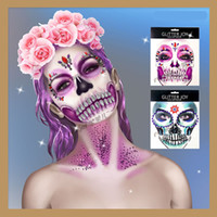 diamond tattoo stickers 2021 - Polyresin Diamond Horror Face Tattoo Stickers Eco-friendly Makeup Tattoo Skull Inspired Face Jewel With Gem Skull Teeth Stickers 08
