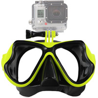 Wholesale black dive mask resale online - Durable Lightweight Camera Diving Goggle Camera Mount Yellow Red Black Blue Diving Diving Swimming Mask