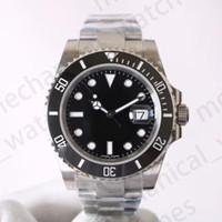 freie taube großhandel-Uhren der Luxusmänner V8 904L 116610LN ETA 3135 Automatische mechanische Uhren schwarzer grüner keramischer Rahmen-leuchtende Taucheruhr
