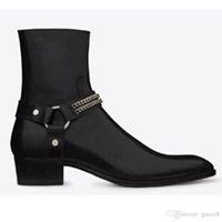 цепочки пряжек для ботинок оптовых-Fashion Wyatt Байкерские Цепи Ботильоны Мужская обувь Коричневая кожаная мужская классическая обувь Botas Militares Обувь для мужчин Заостренный носок Пряжка Мужские ботинки
