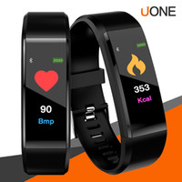 Wholesale pedometers for sale - Original Color LCD Screen ID115 Plus Smart Bracelet Fitness Tracker Pedometer Watch Band Heart Rate Blood Pressure Monitor Smart Wristband
