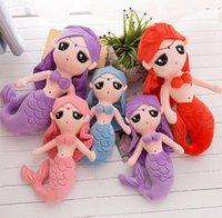 pequeños juguetes de peluche sirena al por mayor-Linda sirena princesa muñeca de peluche de juguete niña dormir almohada tridimensional cómodos y suaves juguetes para niños