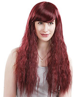 Wholesale long wave costumes hair online - Women Elegant Long Wave Wine Red Party Hair Synthetic Club Costume Hair Kanekalon Heat Resistant Cosplay Party Hair Full Wig Wigs