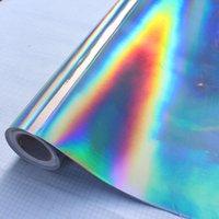 gökkuşağı filmi çıkartması toptan satış-30 * 100 cm Gümüş Lazer Krom Kaplama Vinil Holografik Oto Araba Wrap Film Gökkuşağı Araba Vücut Dekorasyon Krom Sticker Sac Çıkartması