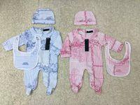 boné de terno venda por atacado-Luxo macacão Recém-nascido Meninas Do Bebê menino Roupas cap Romper Bib terno de Algodão Roupas de Bebê conjunto de layette NOVO