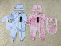 ingrosso cappelli neonati-tuta neonato di lusso Neonate ragazzo vestiti Cap pagliaccetto tutina in cotone vestiti del bambino corredino set NUOVO