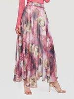 roupas de senhoras de estilo boêmio venda por atacado-Mulheres Verão Saia 2019 Moda Estampa Floral Estilo Bohemian Saias Longas Elegantes Hem Grande Senhoras Saias Femininas Roupas Roxas Novo