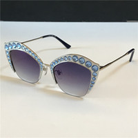 Wholesale multi colored lens for sale - Group buy New fashion designer woman sunglasses charming cat eye half frame inlaid with sparkling crystal colored diamonds top quality UV400 lens