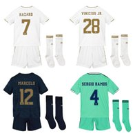 fußball trikots uniformen real madrid großhandel-2019 20 Real Madrid Fußball-Jersey-GEFAHR Hause Fußballhemd ASENSIO ISCO MARCELO madrid 19 20 Kinder Kit Fußball Uniformen weg