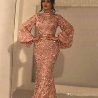 longo laço rosa vestido de ouro venda por atacado-Árabe brilhante Rosa de Ouro Lace Lantejoula sereia Vestidos de baile alta Neck mangas compridas apliques vestidos de noite até o chão